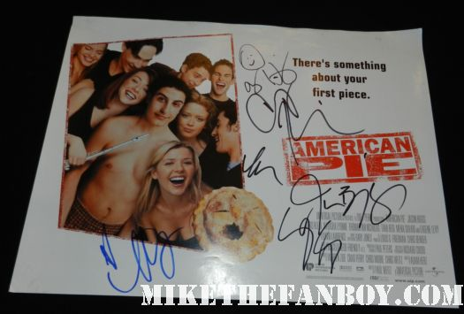 american pie rare promo uk quad mini movie poster signed autograph alyson hannigan jason biggs chris klein seann william scott thomas ian nichols mena suvari rare promo