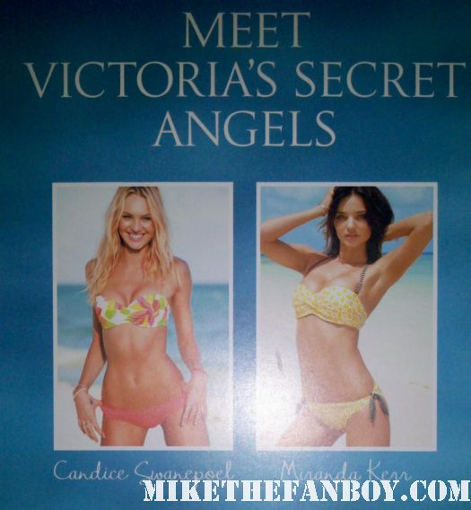 Victoria's Secret Angels Miranda Kerr and Candice Swanepoel come down from heaven to pose with fans!