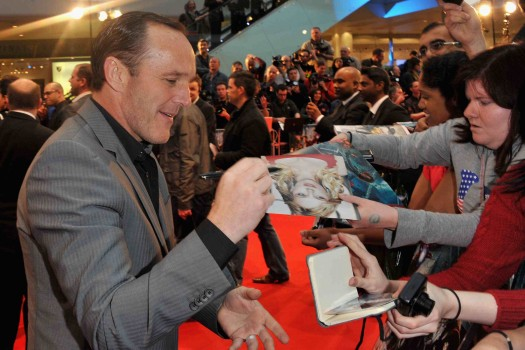 Marvel Avengers Assemble - European Premiere - clark gregg signing autographs for fans on the red carpet