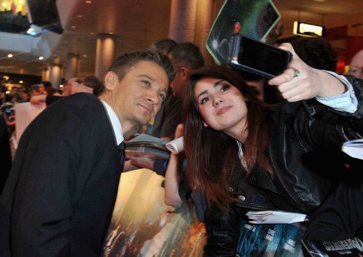 Marvel Avengers Assemble - European Premiere - jeremy renner signs autographs and poses with fans for photos on the red carpet hawkeye