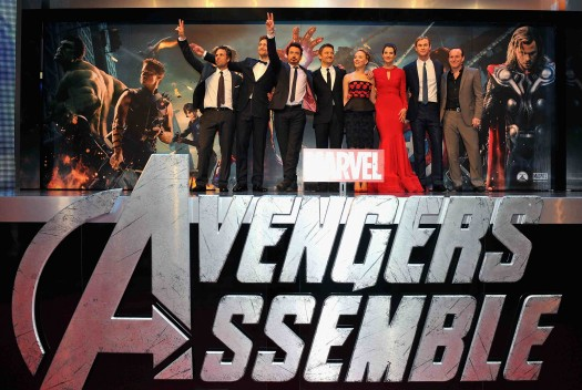 Marvel Avengers Assemble - European Premiere - the avengers cast pose on the red carpet robert downey jr chris hemsworth colbie smulders tom hiddleston jeremy renner