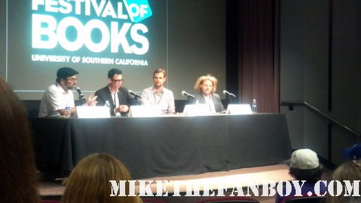 """real and unreal panel at the ucla los angeles times festival of books Nick Owchar deputy books editor of LA Times, Jack Gantos """"Dead End in Norvelt"""", Ransom Riggs """"Miss Peregrin's Home for Peculiar Children"""" and a Sherlock Holmes handbook (woo hoo), Thane Rosenbaum """"The Stranger Within Sarah Stein"""""""