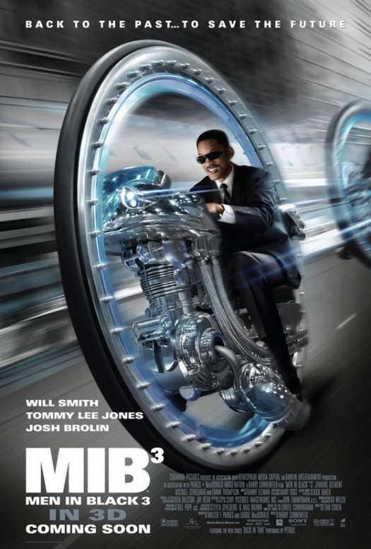 MIB-poster Men in black 3 MIB3 rare will smith one sheet movie poster promo driving a circle car back to the future tag line