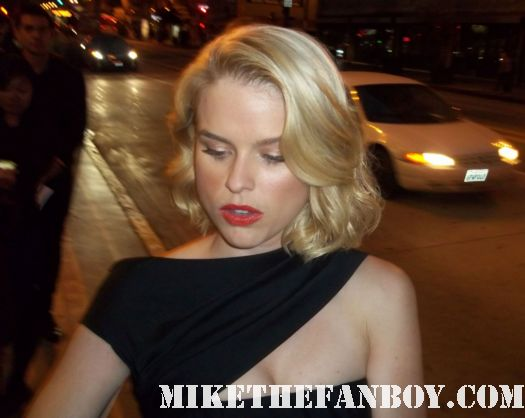 alice eve sexy hot signing autographs for fans at the world premiere of the raven  in los angeles she's out of my league actress rare promo hot