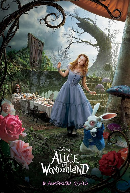 alice_in_wonderland_ver6 tim burton rare promo one sheet movie poster promo johnny depp rare