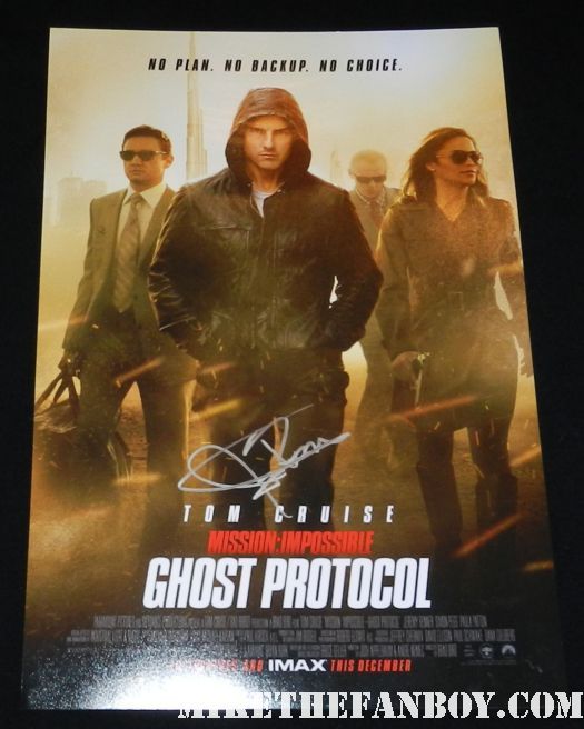 jeremy renner signed autograph mission impossible ghost protocol mini movie poster tom cruise rare promo