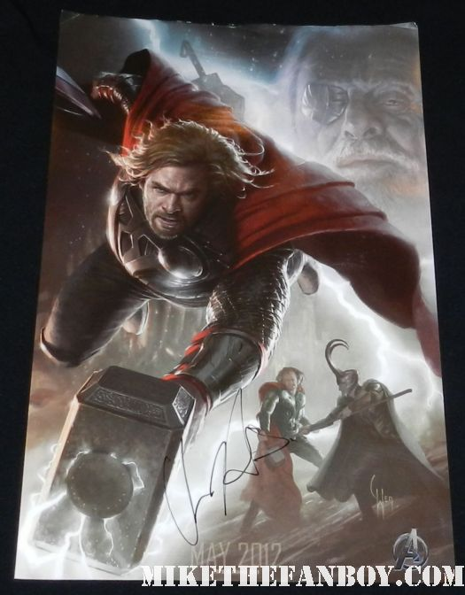 chris hemsworth signed autograph thor rare comic con sdcc rare promo poster art poster promo comic con sdcc 2011