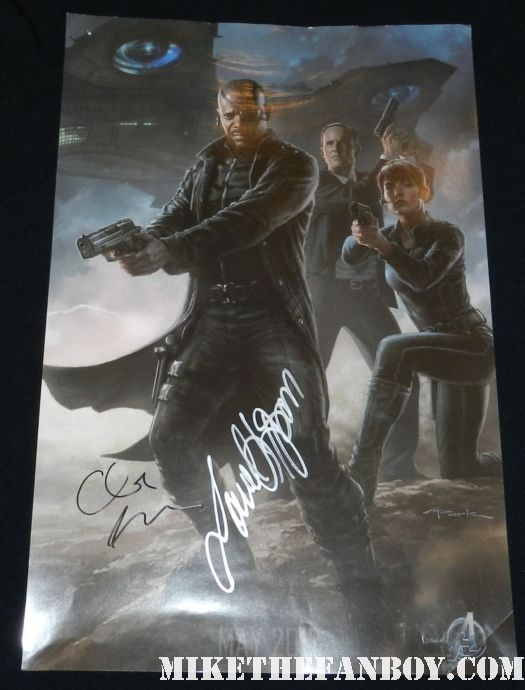 samuel l jackson and clark gregg signed autograph comic con mini promo avengers art poster nick fury agent coulter