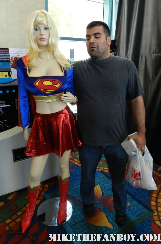 big mike and pinky posing with superhero costumes at the hollywood show in burbank rare promo mike the fanboy writers