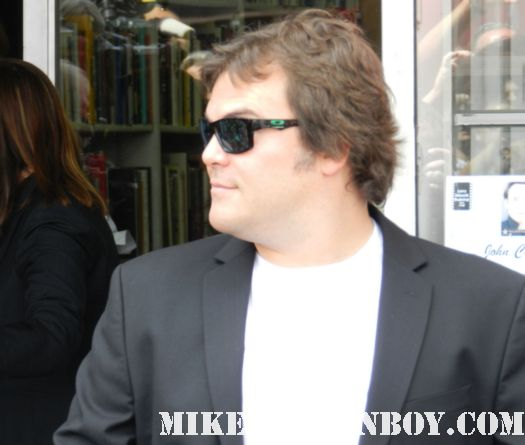 high fidelity star jack black arriving to john cusack's walk of fame star ceremony on hollywood blvd