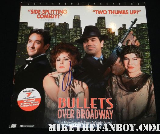 john cusack signed autograph bullets over broadway laserdisc mini poster promo
