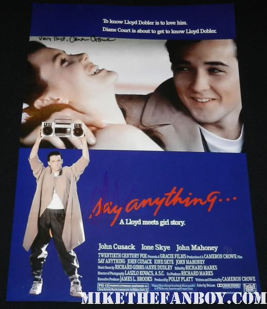 say anything...  signed autograph mini movie poster cameron crowe john cusack