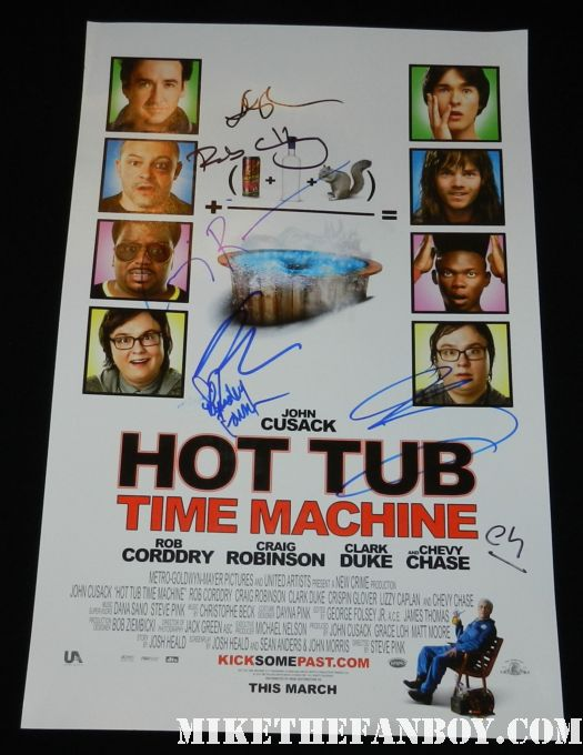 hot tub time machine signed autograph rob cordry john cusack craig robinson mini promo poster