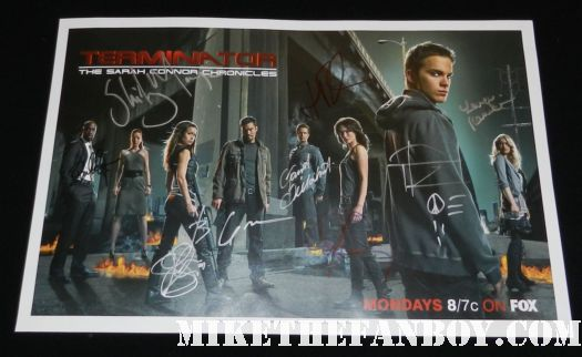 sarah connor chronicles rare signed autograph rare promo mini poster cast signed lena headey thomas dekker garret dillahunt summer glau
