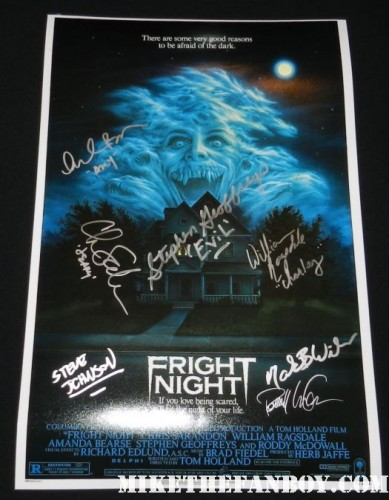 fright night 1985 rare promo movie poster signed autograph by the cast william ragsdale amanda bearse stephen geoffries chris sarandon movie poster promo