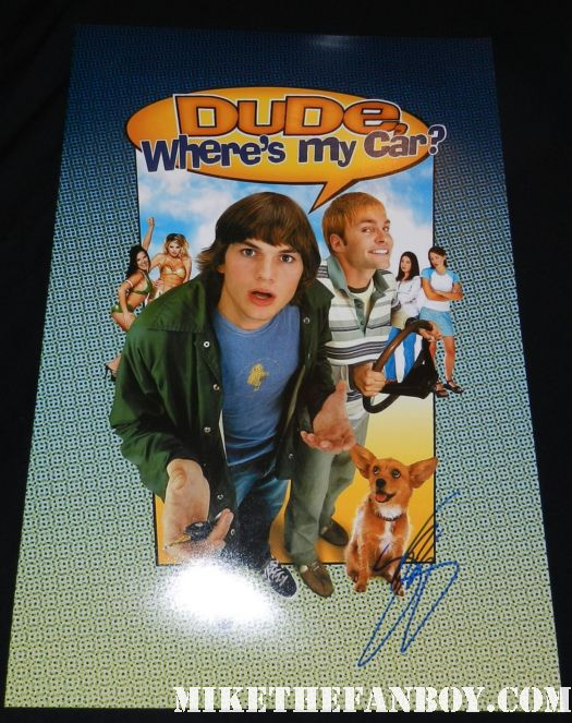 dude, where's my car promo mini movie poster signed autograph seann william scott ashton kutcher rare promo hot sexy