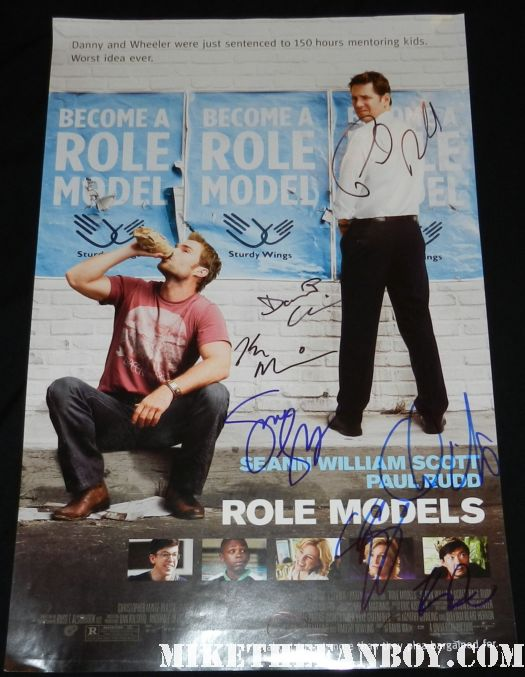 Role models signed autograph rare promo mini movie poster seann william scott paul rudd jane lynch christopher mintz plase jen jeong
