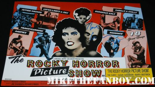 tim curry signed autograph rocky horror picture show rare promo uk quad mini poster movie poster one sheet frank n furter hot
