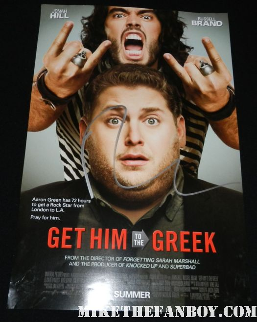 russell brand signed autograph get him to the greek one sheet movie poster promo rare hot sexy cast