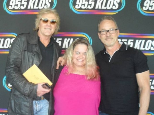 """pinky with so called radio personalities mark and brian from klos radio in los angeles """"fan photo"""" promo"""
