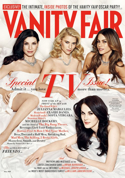 vanity-fair april 2012 magazine cover Sofia Vergara, Julianna Margulies, Michelle Dockery and Claire Danes hot sexy magazine cover photo shoot promo