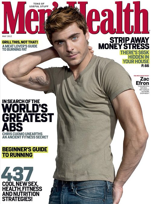zac-efron-mens-health-may-2012- hot sexy zac efron flex bicep rare workout routine rare promo sexy magazine cover photo flex rare