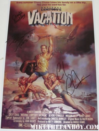 christie brinkley signing autographs signed autograph rare promo national lampoon's vacation promo movie poster chevy chase signature