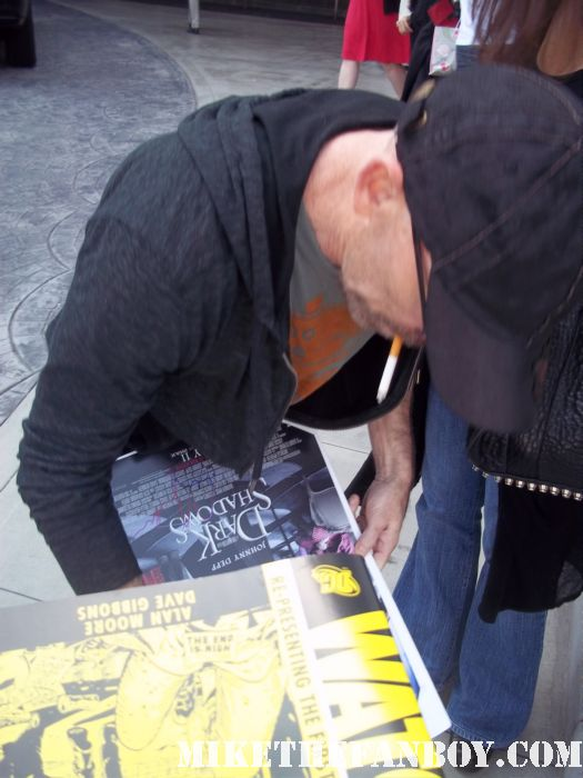jackie earle haley signing autographs for fans at the dark shadows press junket watchmen freddy kruger