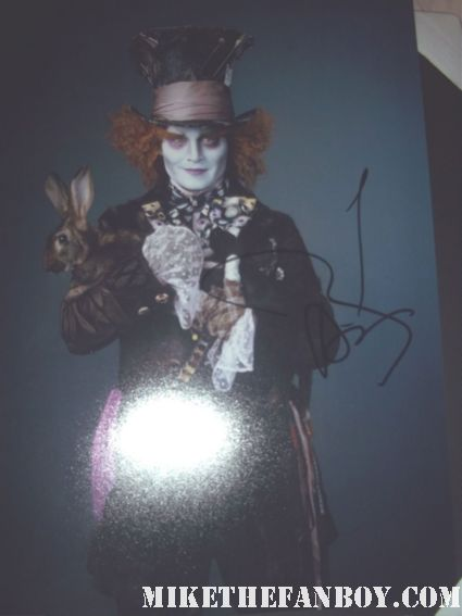 johnny depp signed autograph alice in wonderland mad hatter rare promo press still photograph promo