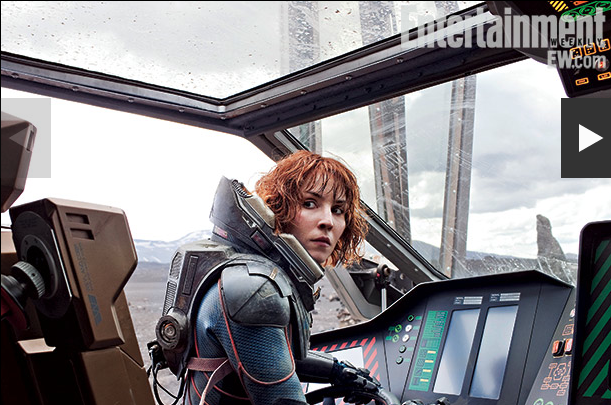 ridley scott talks prometheus in entertainment weekly prometheus cover with michael fassbenger charlize theron nomi rapace