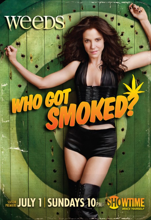 weeds season 8 rare promo poster mary louise parker hot black leather promo photo shoot hot sexy rare who got smoked