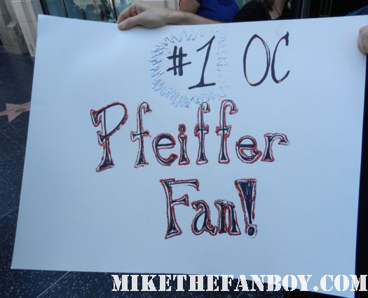 scotty's #1 michelle pfeiffer fan sign he plans on holding up to get her attention at the dark shadows world movie premiere