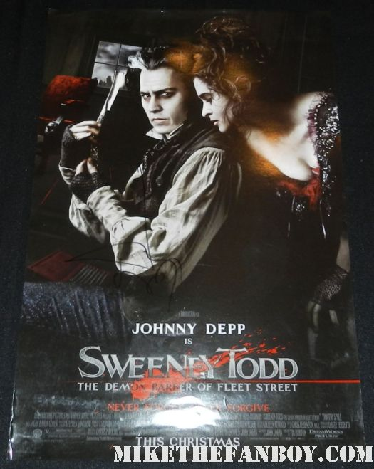 johnny depp signed autograph sweeny todd rare promo mini movie poster dark shadows world premiere