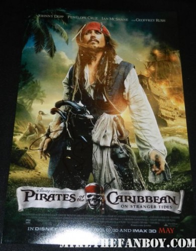 johnny depp signed autograph promo pirates of the caribbean promo mini movie poster at world's end