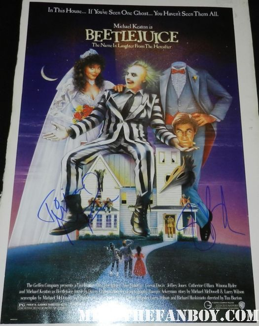 tim burton signed autograph beetlejuice mini movie poster promo michael keaton rare hot geena davis