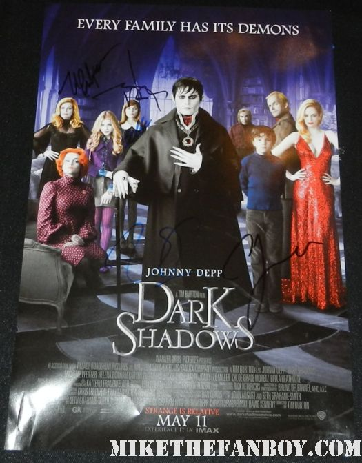dark shadows signed autograph promo mini movie poster johnny depp michelle pfeiffer bella heathcote eva green jonny lee miller rare