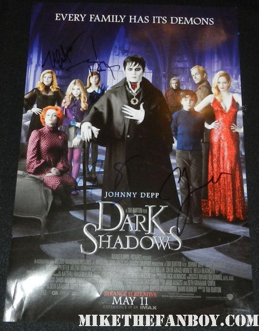 dark shadows signed autograph promo mini movie poster johnny depp michelle pfeiffer bella heathcote eva green jonny lee miller rare