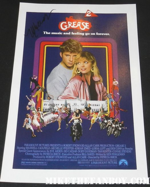 michelle pfeiffer signed autograph grease 2 rare mini movie poster promo maxwell caulfield