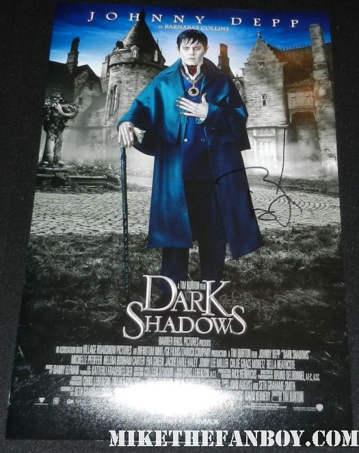 johnny depp signed dark shadows barnadas collins promo individual promo movie poster signed autograph