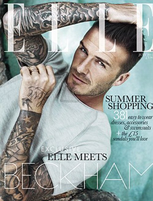 david-beckham-elle-uk-0712- (2) david beckham on the cover of elle uk magazine for july 2012 hot sexy shirtless naked photo shoot abs muscle tattoo promo rare soccer star hot blonde rare promo