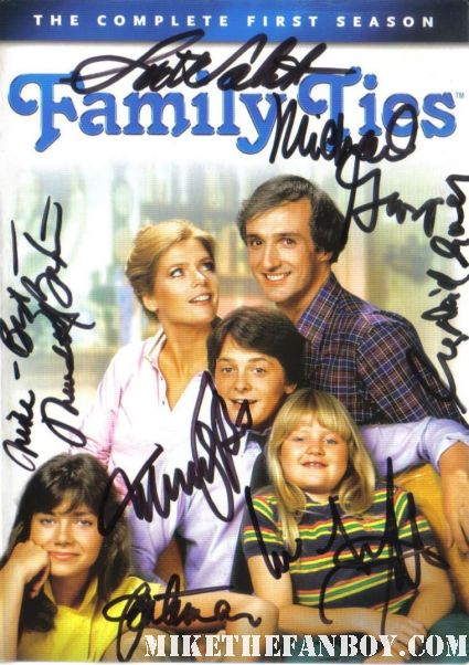 family ties dvd cover signed by the cast autograph tina yothers michael j fox michael gross meredith baxter birney justine bateman scott valentine