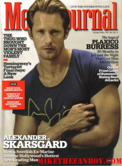 alexander skarsgard signed autograph men's journal magazine rare promo alexander skarsgard looking sexy signing autographs for fans at the true blood season 5 premiere in hollywood  signed autograph true blood season 5 promo poster rare hot sexy pam signing autographs true blood season 5 premiere