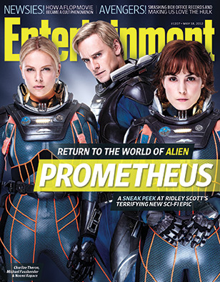 entertainment weekly prometheus cover with michael fassbenger charlize theron nomi rapace