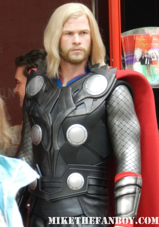 the wax figure of thor at madame toussauds in hollywood a chubby captain america on the hollywood walk of fame star ceremony Scarlett Johansson Walk of Fame Star Ceremony Report! Chaos, Bloodshed, and My We Bought a Zoo Poster Gets Autographed! All In a Day's Work!