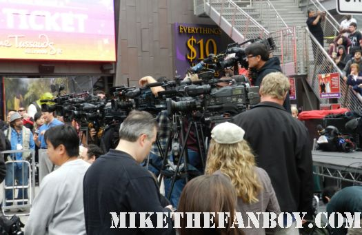 the press lined up at scarlett johansson's walk of fame star ceremony in hollywood the avengers