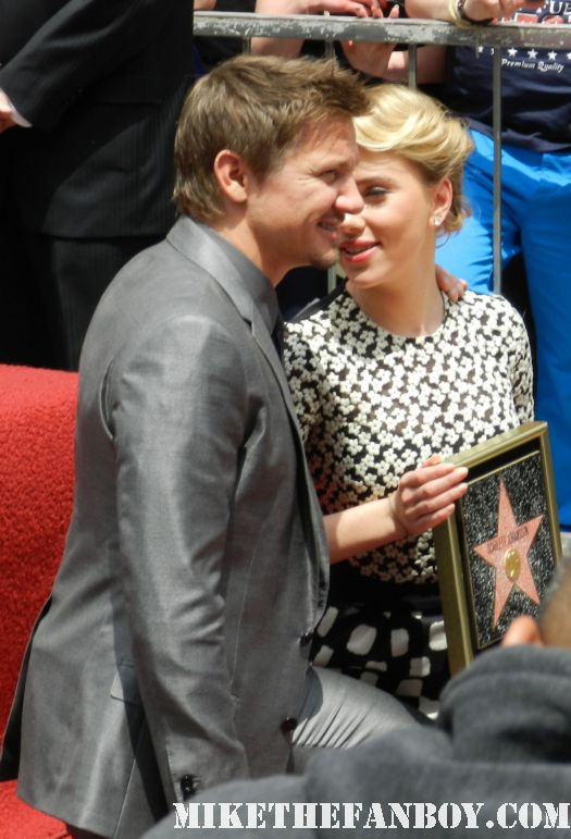 """Scarlett Johansson (Film Actor)"", walk of fame, star ceremony, jeremy renner, speech, avengers, signing, autograph"