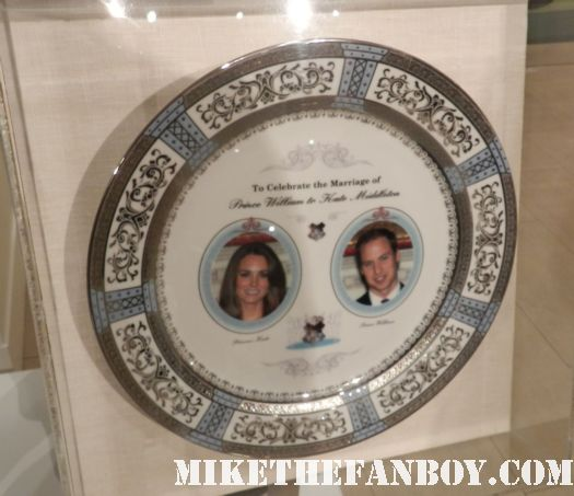 patricia heatons the middle costume on display at the paley center out of the box display prop plate  promo royal wedding dinner commemorative plate