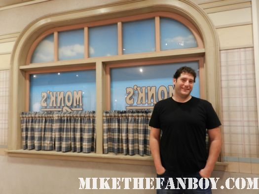 mike the fanboy at the recreation of monk's diner from Seinfeld at the paley center out of the box prop and costume display