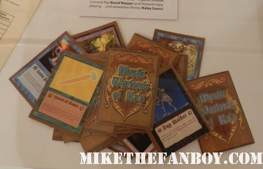 the big bang theory mystic warlords of Ka'a promo cards prop and costume display at the paley center out of the box exhibit rare promo
