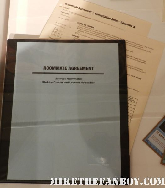 the big bang theory prop roommate agreement  prop and costume display at the paley center out of the box exhibit rare promo